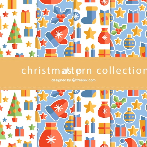 Christmas collection of patterns in flat design\ elements