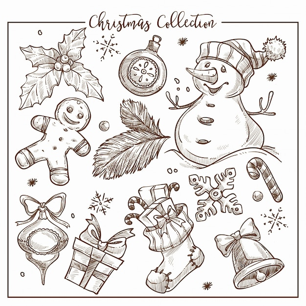 Christmas collection of symbolic traditional elements monochrome sketch outline . Premium Vector
