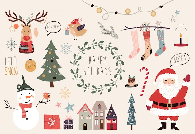 Christmas collection with different hand drawn decorative elements Premium Vector