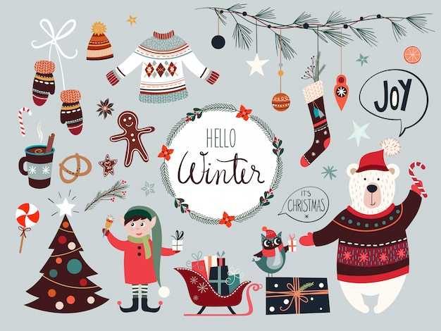 Christmas collection with seasonal elements Premium Vector