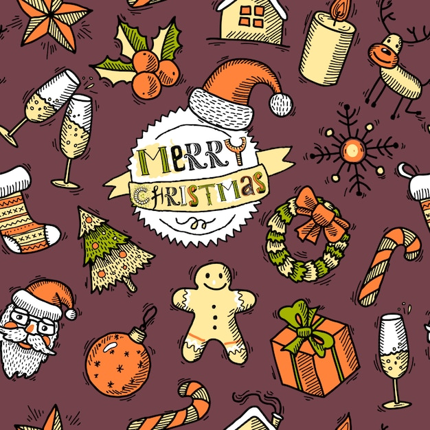 Christmas colored seamless pattern Premium Vector