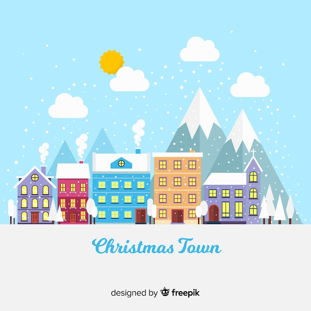 Christmas colorful village background Free Vector