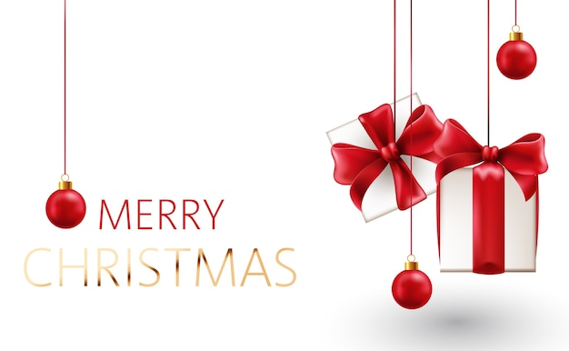 Christmas composition of hanging gift box with red ribbons Free Vector