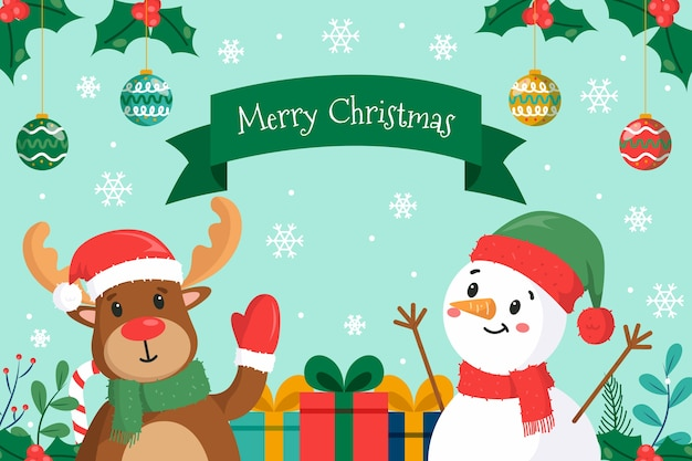 Christmas concept in hand drawn Free Vector