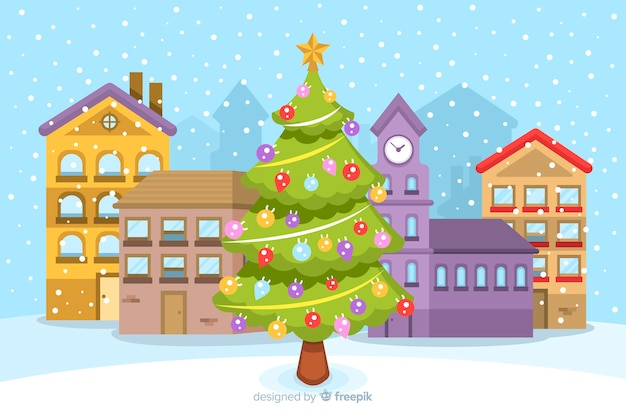 Christmas concept with flat design background Free Vector