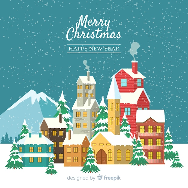Christmas concept with flat design town Free Vector