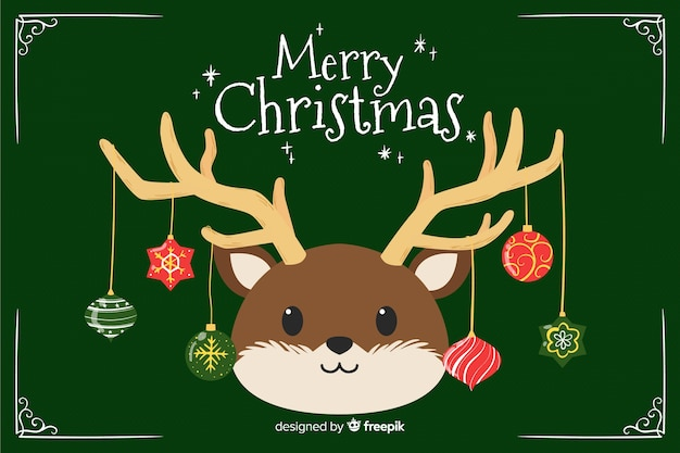 Christmas concept with hand drawn background Free Vector