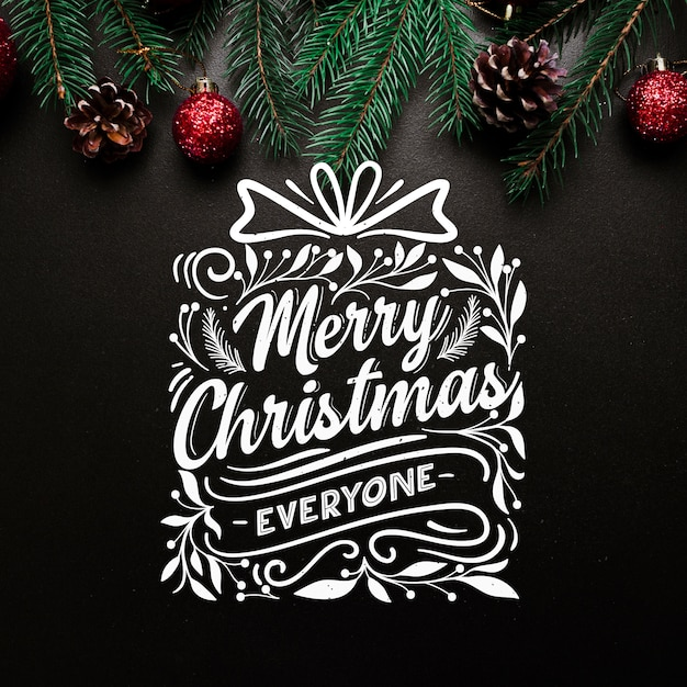 Christmas concept with lettering Free Vector