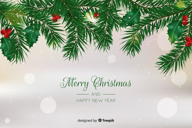 Christmas concept with realistic background Free Vector