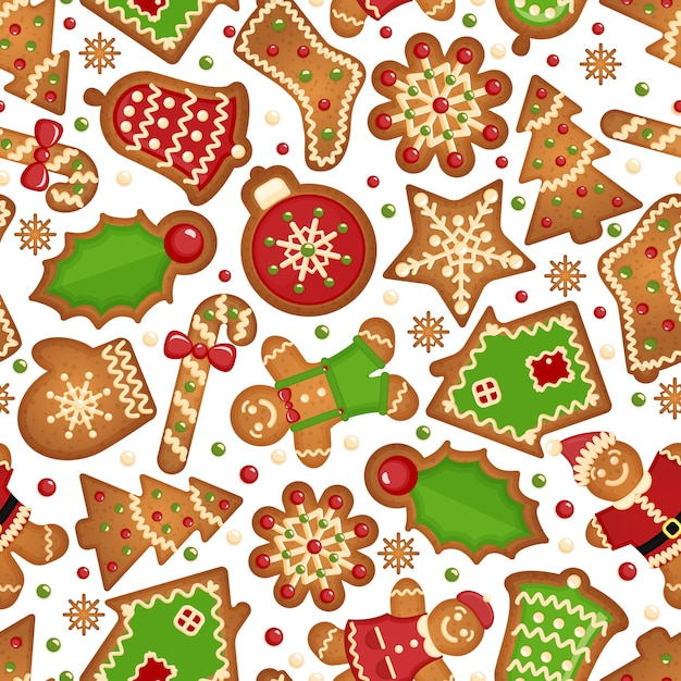 Рождественское печенье фон. бесшовный праздничный образец рождественского печенья Бесплатные векторы