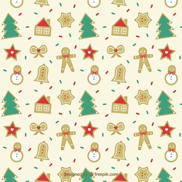 Christmas cookies pattern Premium Vector