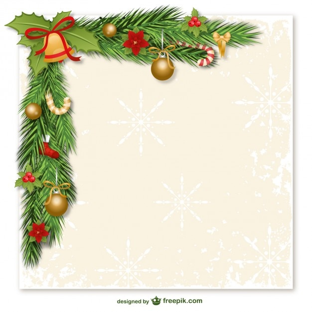 Christmas corner ornament vector free download