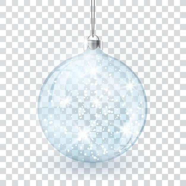Christmas crystal glass ball on transparent vector background. Premium Vector