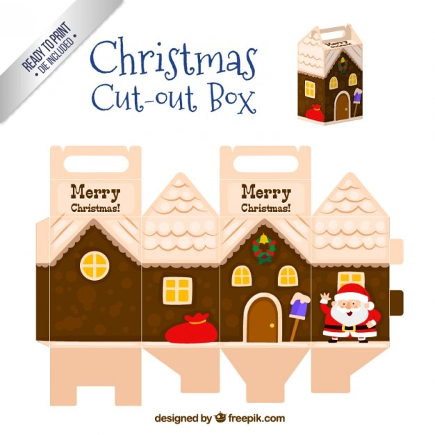 Christmas cut out box in house style Premium Vector