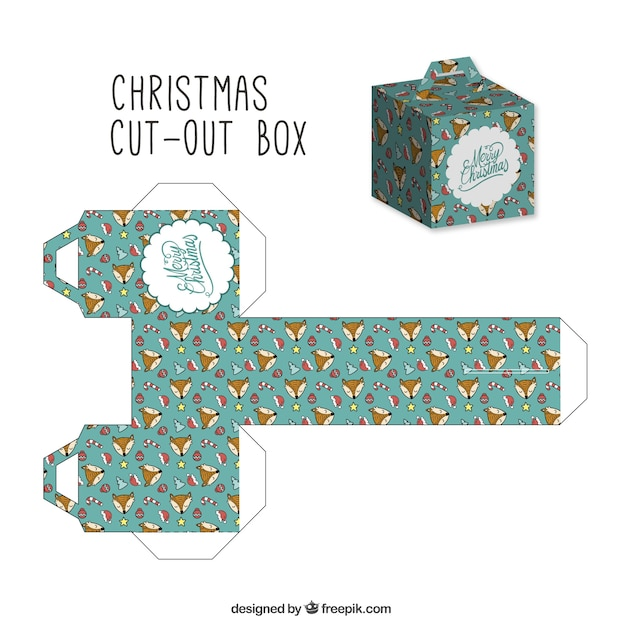 Christmas Cut Out Box With Lovely Foxes Vector