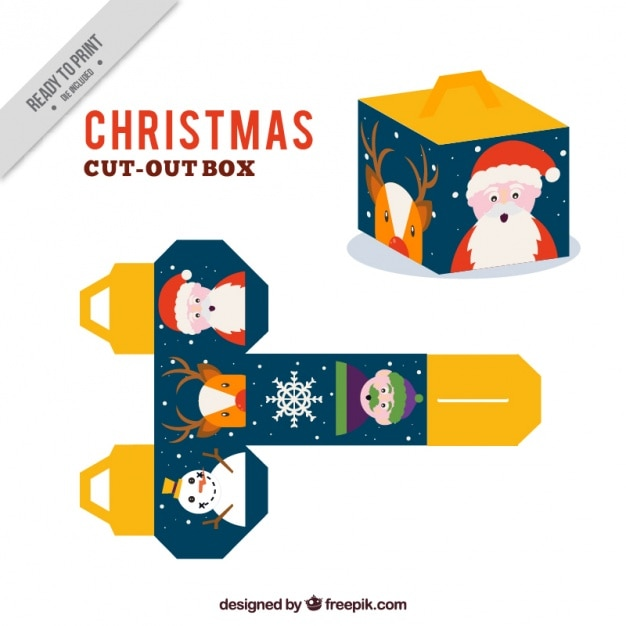 christmas cut out box free vector