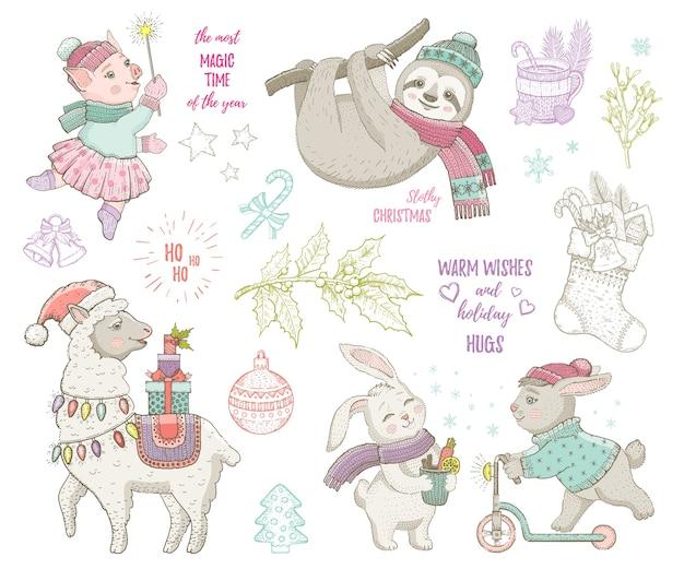 クリスマスかわいい動物ラマナマケモノウサギ豚。手描きのトレンディな落書きセット。メリークリスマス&新年あけましておめでとうございます漫画のスケッチ Premiumベクター