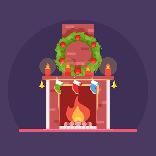 Christmas, cute cartoon burning fireplace, christmas decorations wreath Premium Vector