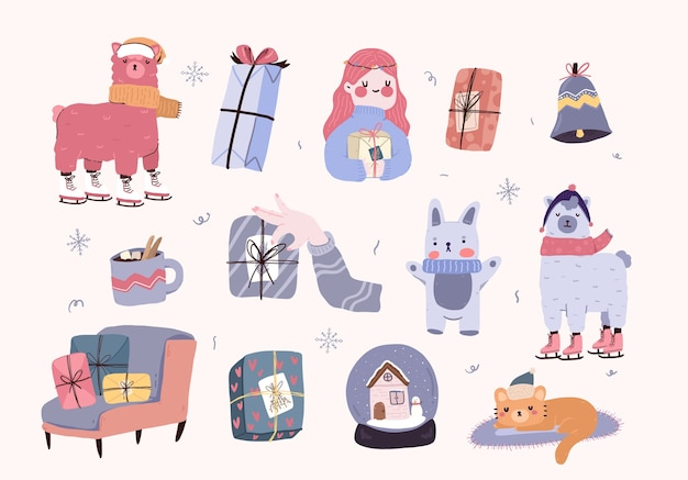 Christmas cute cartoon elements decor set sticker design Premium Vector