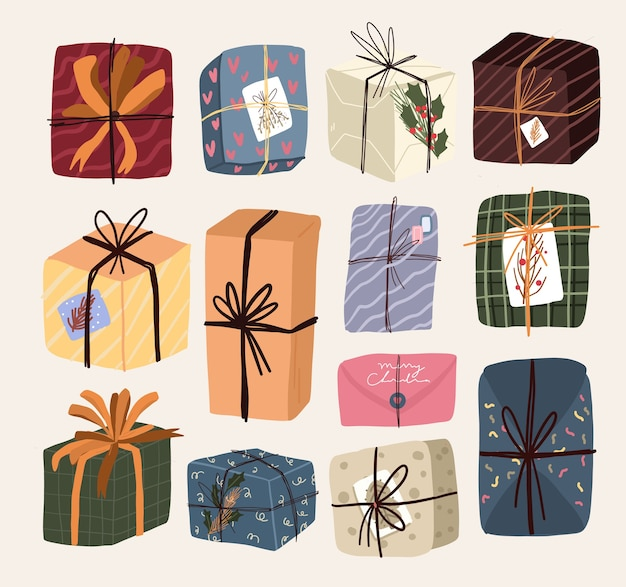Christmas cute cartoon elements gifts set sticker design Premium Vector