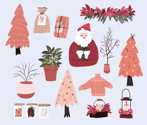 Рождественский милый мультфильм элементы внутреннего декора набор дизайн наклейки Premium векторы