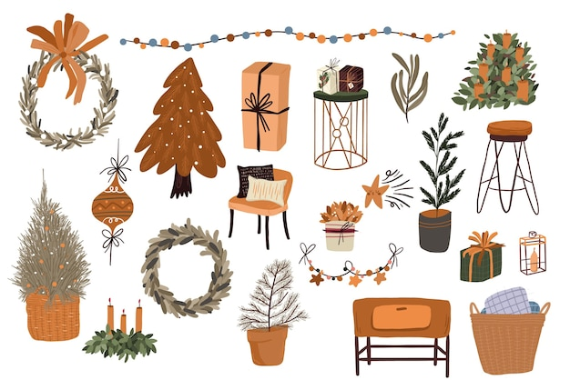 Christmas cute cartoon elements indoor decor set sticker design Premium Vector