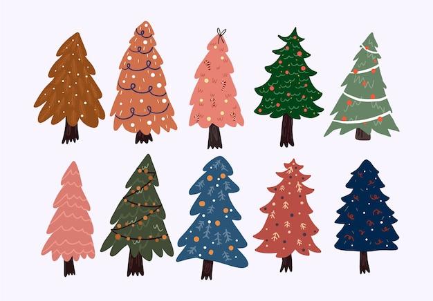 Christmas cute cartoon elements indoor decor set sticker Premium Vector