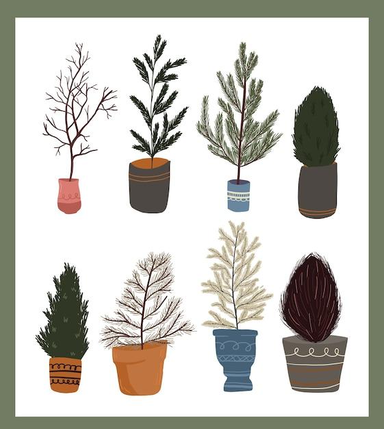Christmas cute cartoon elements indoor plant decor set sticker design Premium Vector