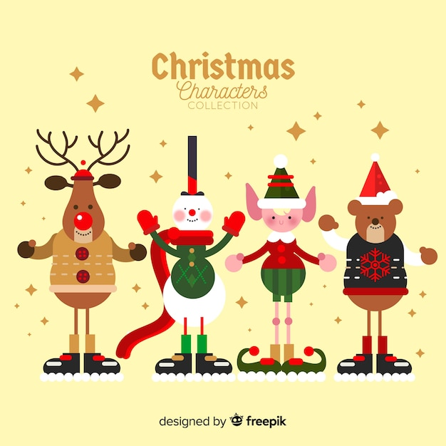 Christmas cute character collection in flat design Free Vector