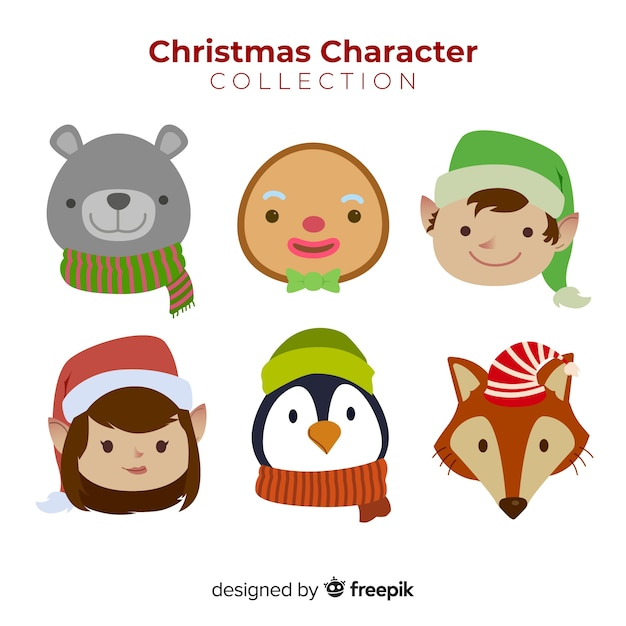 Christmas cute character faces collection in flat design Free Vector
