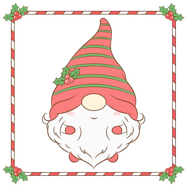 長い赤いベリーの帽子とキャンディーフレームで描くクリスマスのかわいいノーム Premiumベクター
