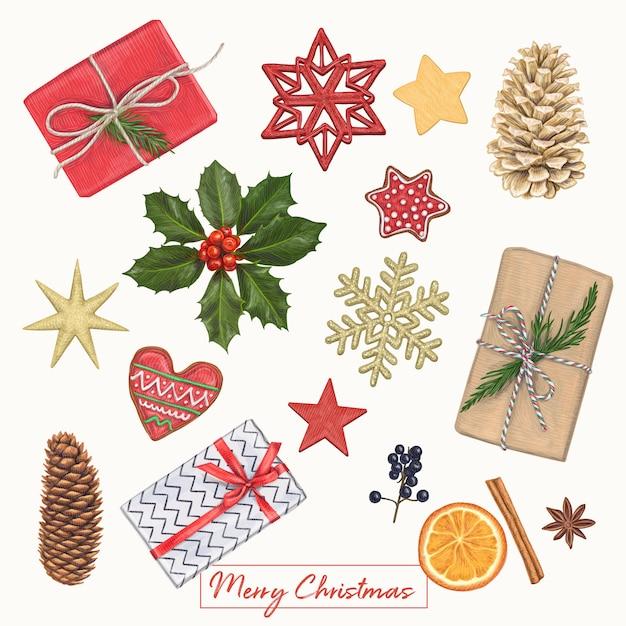 Christmas cute hand drawn decoration Premium Vector