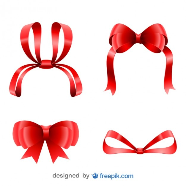 Christmas cute red ribbons set Free Vector