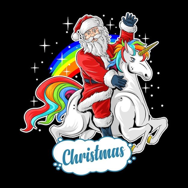 Рождество милый санта клаус едет милый единорог между радугой и звездой Premium векторы
