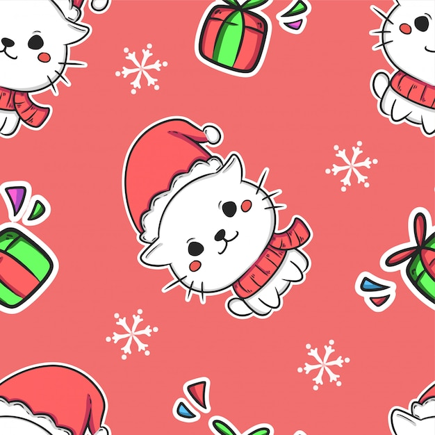 Christmas cute seamless pattern background Premium Vector