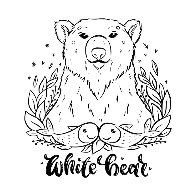 Coloring Pages. Wild Animals. Cute Bear Smiles. Stock Vector ... | 626x626