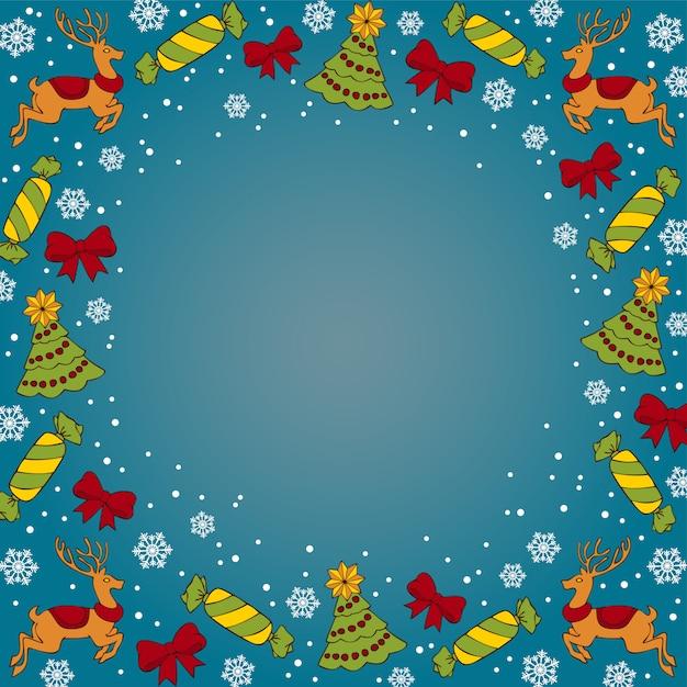 Christmas dak blue background Premium Vector