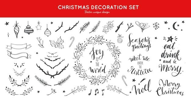 クリスマスカードのクリスマスの装飾落書きコレクション Premiumベクター