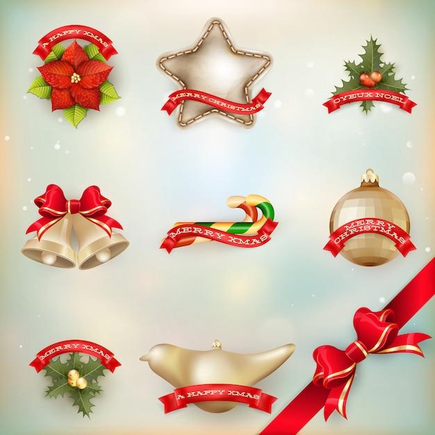 クリスマスの装飾オブジェクト。 Premiumベクター
