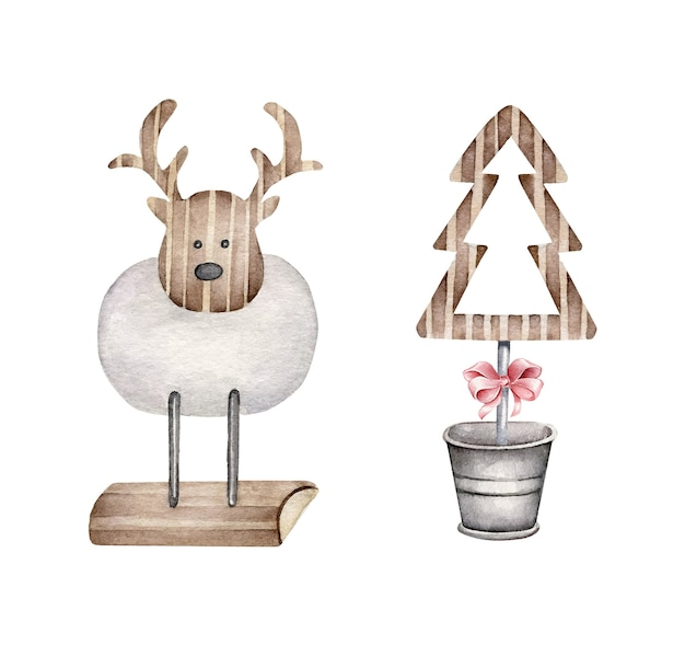 Christmas decor.wooden decorative deer and christmas tree Premium Vector