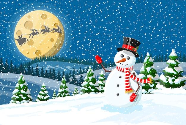 Рождественские украшения снеговик фон Premium векторы