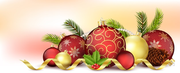 Christmas decoration background Premium Vector