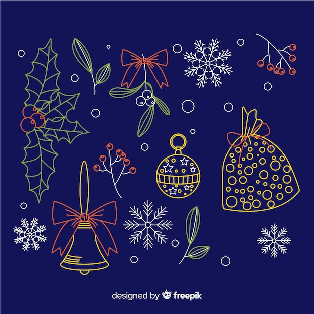 Christmas decoration on blue background hand drawn style Free Vector
