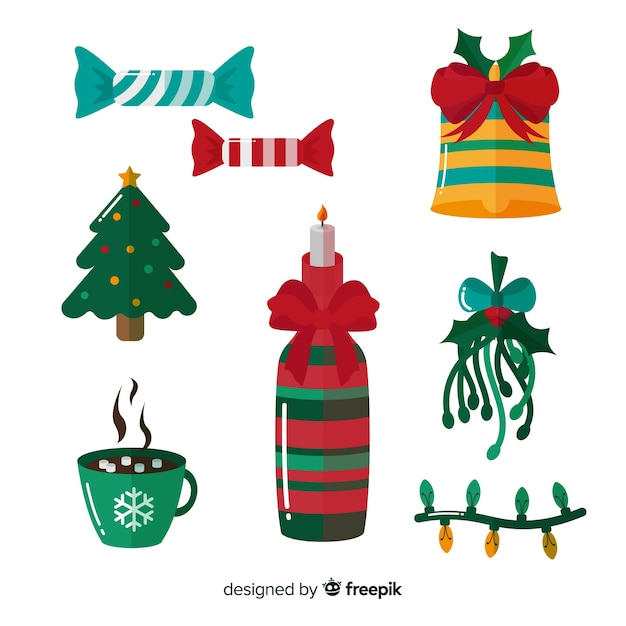 Christmas decoration elements collection Free Vector