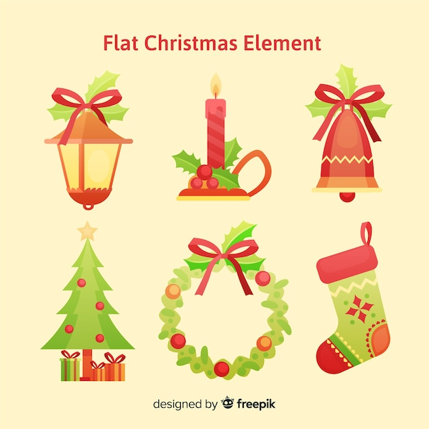Christmas decoration elements pack Free Vector