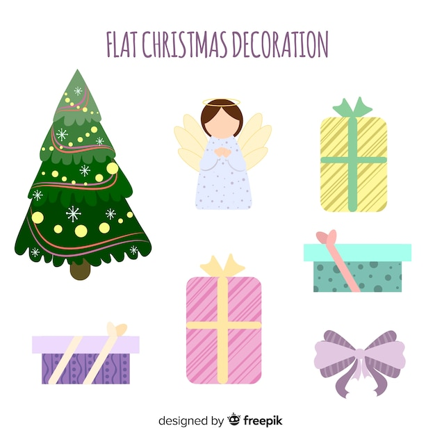 Christmas decoration in flat design Free Vector