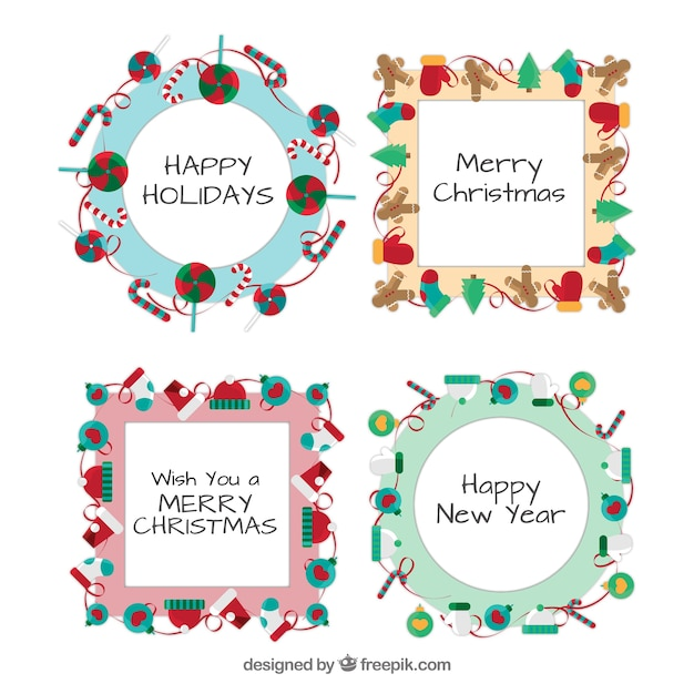 Christmas decoration frames template pack Free Vector