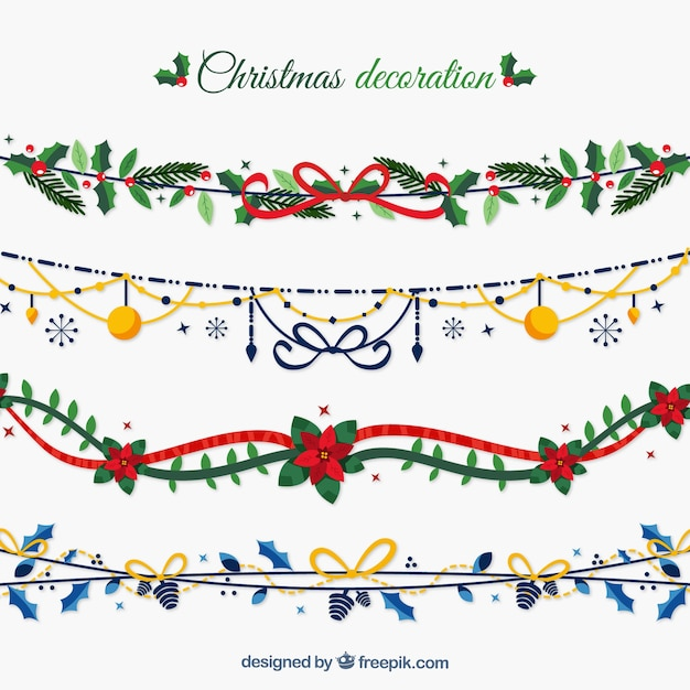 Christmas Decoration Garland Set Vector Free Download