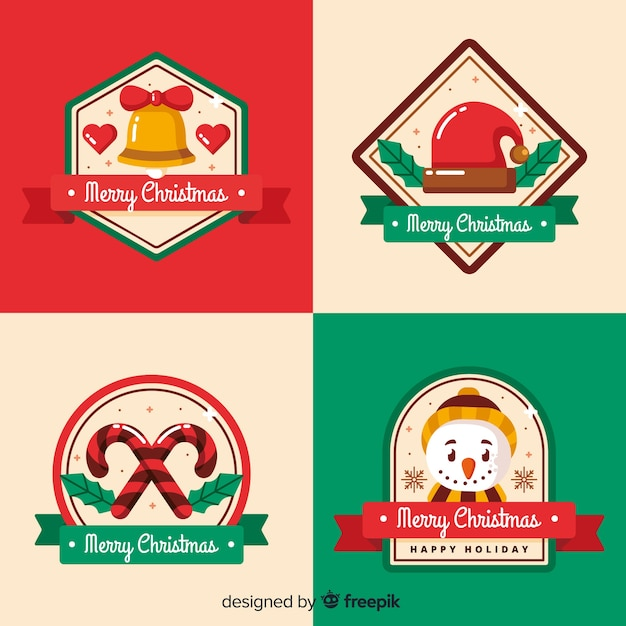 Christmas decoration on label and badge collection Free Vector