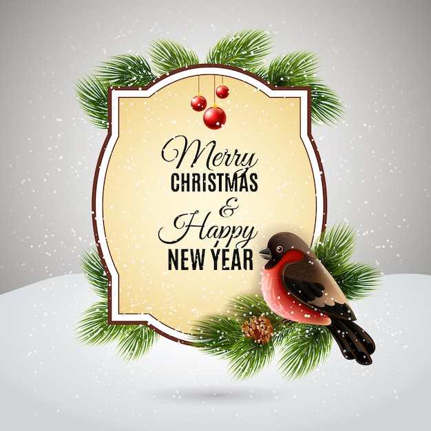 Christmas decoration for new year greetings postcard with redbreast on pine tree brunch Free Vector